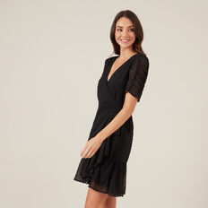DOBBY WRAP DRESS  BLACK  hi-res