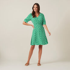 FLORAL PUFF SLEEVE MINI DRESS  GREEN  hi-res