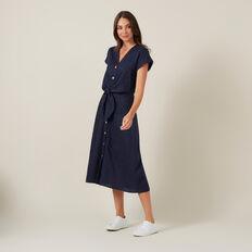TIE FRONT LINEN DRESS  NAVY  hi-res