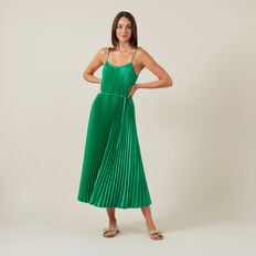 PLEATED MIDI DRESS  GREEN  hi-res