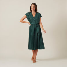 PLEATED V-NECK MIDI DRESS  GREEN  hi-res