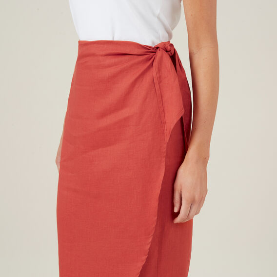 LINEN WRAP SKIRT  RUST  hi-res