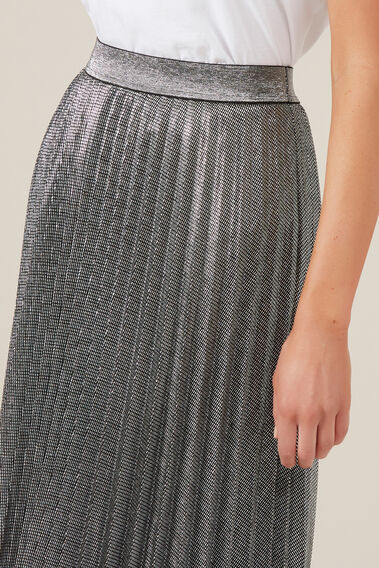 SPARKLE PLEATED SKIRT  SILVER  hi-res