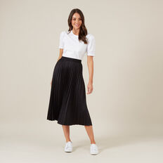 JACQUARD PLEATED SKIRT  BLACK  hi-res