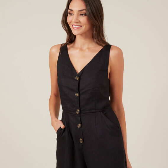 BUTTON UP JUMPSUIT  BLACK  hi-res