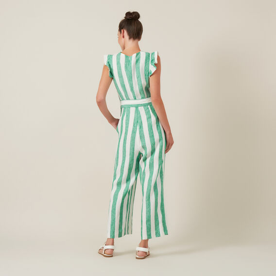 STRIPE WIDE LEG JUMPSUIT  GREEN/WHITE  hi-res
