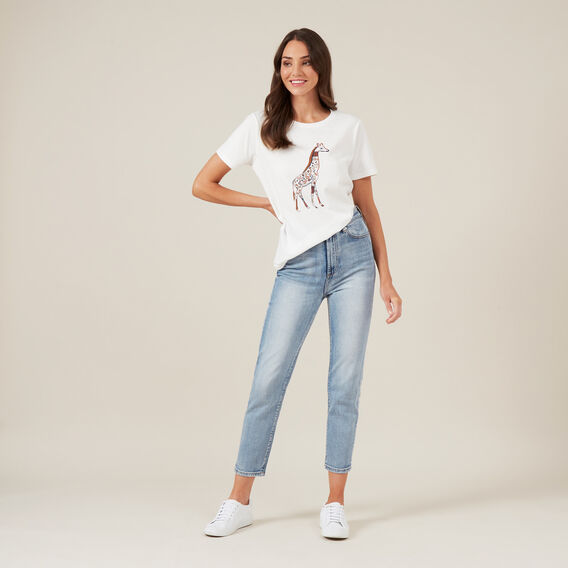 GIRAFFE PLACEMENT TEE  OFF WHITE  hi-res