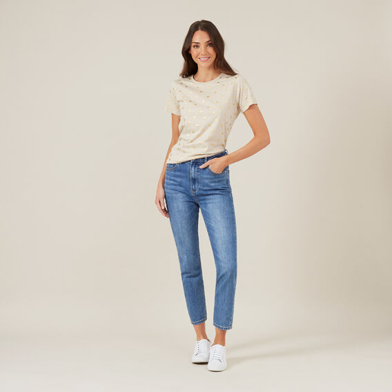 SPOTTED FOIL TEE  OATMEAL  hi-res
