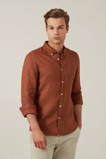 LINEN SHIRT  RUST  hi-res