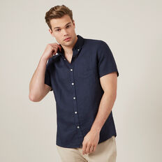 LINEN S/S CLASSIC FIT SHIRT  OXFORD BLUE  hi-res
