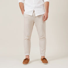 LINEN BLEND PULL ON PANT  OATMEAL MELANGE  hi-res