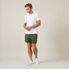 LINEN ELASTICATED SHORT  KHAKI  hi-res