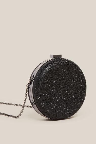 SPARKLE CIRCLE CLUTCH  BLACK  hi-res