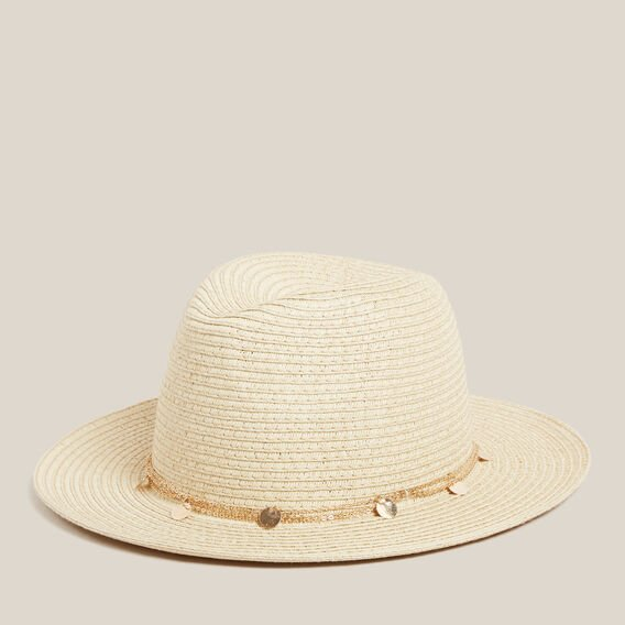 FEDORA WITH CHAIN DETAIL  NATURAL/GOLD  hi-res