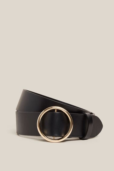 CIRCLE LEATHER BELT  BLACK  hi-res