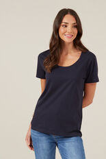 CLASSIC SCOOP NECK TEE  NAVY  hi-res