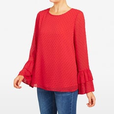 DOBBY 3 TIERED SHIRT  RED  hi-res