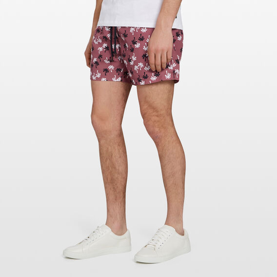 PALM TREE SWIM SHORT  BERRY  hi-res