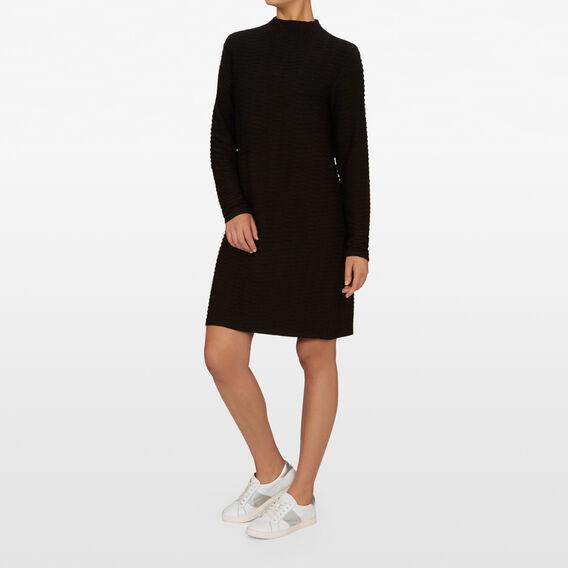 TEXTURED SHIFT DRESS  BLACK  hi-res