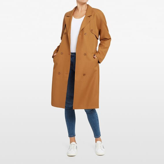 LONGLINE TRENCH COAT  TAN  hi-res