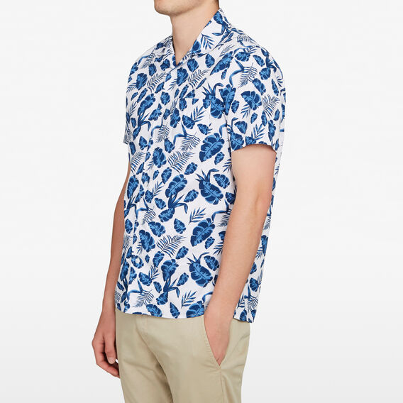 BLUE FLORAL CAMP COLLAR CLASSIC FIT SHIRT  WHITE  hi-res