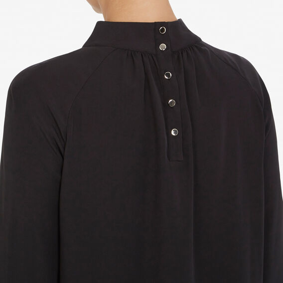 BUTTON BACK GATHERED BLOUSE  BLACK  hi-res
