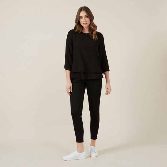 DOUBLE LAYER LONGSLEEVE SHIRT  BLACK  hi-res
