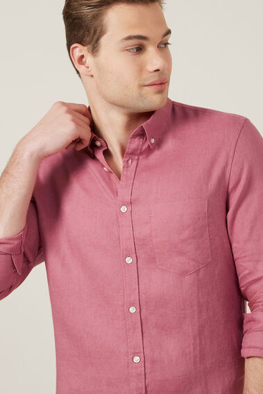 LINEN SHIRT  WASHED BERRY  hi-res