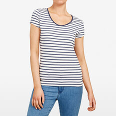 HAYLEY STRIPE TEE  SUMMER WHITE/NOCTURN  hi-res