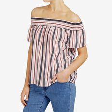 STRIPE OFF SHOULDER SHIRT  SUMMER WHT/NOCTUR/RE  hi-res