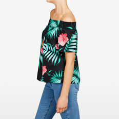 OFF SHOULDER PRINTED SHIRT  BLACK MULTI  hi-res