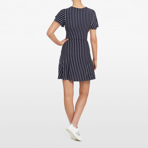 STRIPE JERSEY WRAP DRESS  NOCTURNAL/SUMMER WHI  hi-res