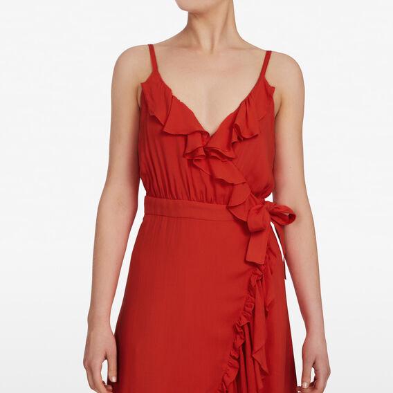 RUFFLE WRAP DRESS  RED  hi-res