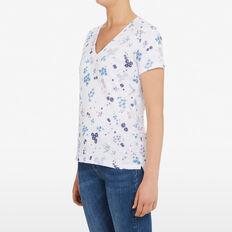 DITSY BLOOM V NECK TEE  SUMMER WHITE/NOCTURN  hi-res