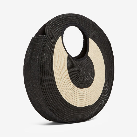 CIRCLE STRAW BAG  BLACK/NATURAL  hi-res