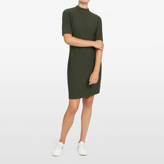 TEXTURED SHIFT DRESS  KHAKI  hi-res