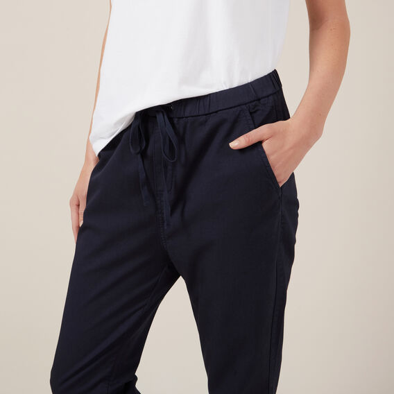 PULL ON STRETCH COTTON PANT  NAVY  hi-res