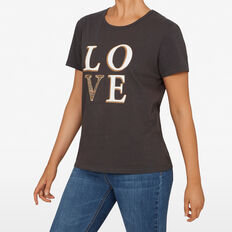 LOVE EMBELLISHED TEE  CHARCOAL MULTI  hi-res