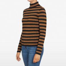 HIGH NECK STRIPE KNIT  TOFFEE/BLACK  hi-res