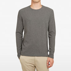 WAFFLE LONG SLEEVE T-SHIRT  CHARCOAL  hi-res