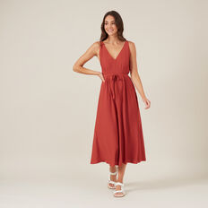 V-NECK MIDI DRESS  RUST  hi-res