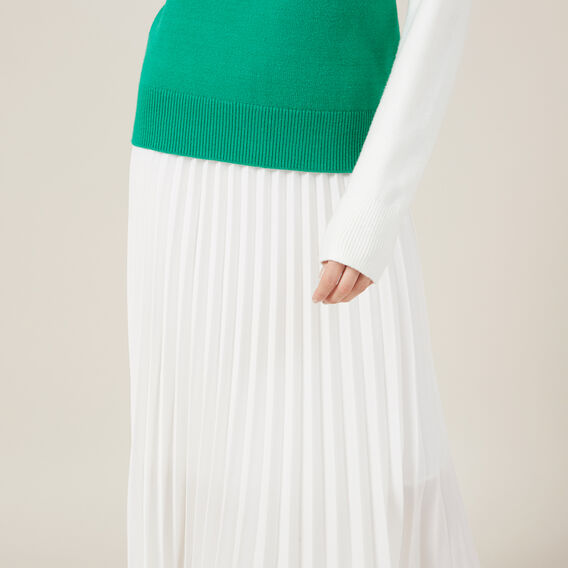 WHITE PLEAT SKIRT  WHITE  hi-res