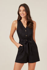 LINEN BUTTON UP PLAYSUIT  BLACK  hi-res