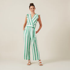 STRIPE WIDE LEG JUMPSUIT  GREEN/WHITE  hi-res