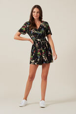 CHEETAH FLORAL PLAYSUIT  KHAKI MULTI  hi-res