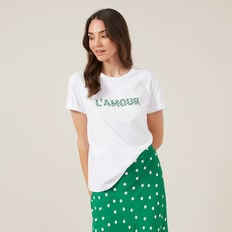 L'AMOUR BEADED TEE  WHITE  hi-res