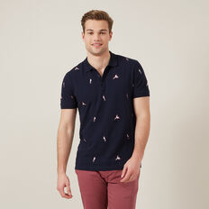 EMBROIDERED PARROT POLO  MARINE BLUE  hi-res
