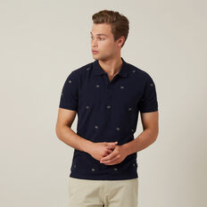 PALM TREE EMBROIDERED POLO  MARINE BLUE  hi-res