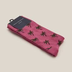 PALM TREE 1PK SOCKS  BERRY  hi-res