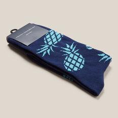LARGE PINEAPPLE 1PK SOCKS  MARINE BLUE  hi-res